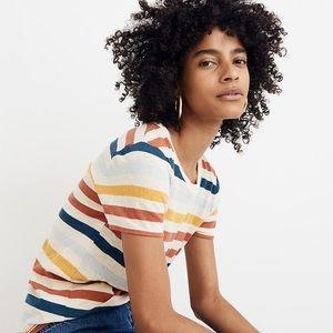 Madewell Lo Fi shrunken tee shirt in jay stripe
